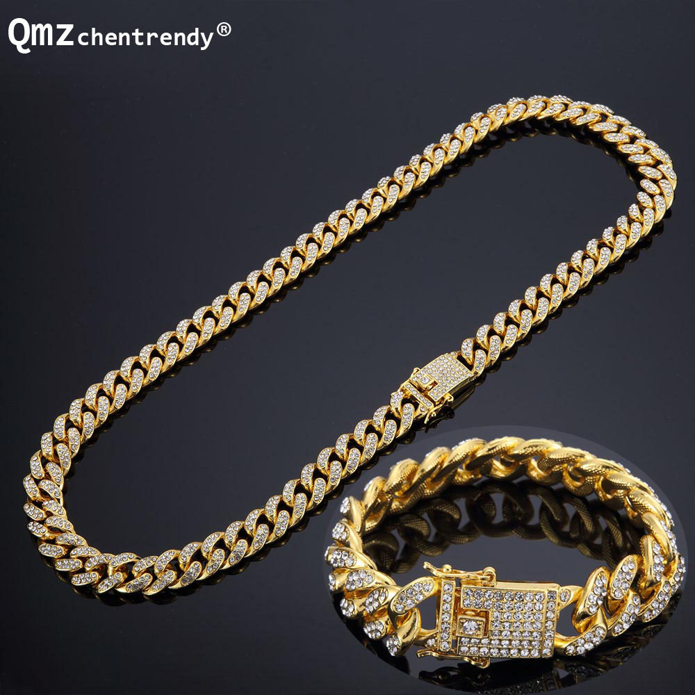 Hip hop Full Bling CZ Cubic Zirconia Jewelry Sets Gold Silver Cuban Chain Link Necklaces Bracelets Box Clasp Miami Cubra Sets vanaxin mens bracelets chain brass cubic zirconia silver color male bracelets cuba chian wholesale vintage punk jewelry gift box