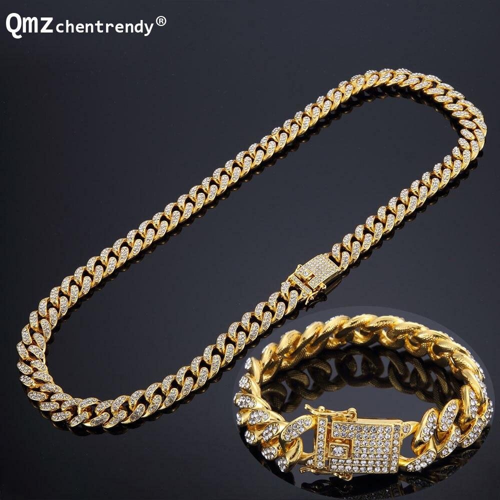 Hip hop Plein Bling CZ Cubique Zircone Ensembles de Bijoux Or Argent Chaîne Cubaine Lien Colliers Bracelets Boîte Fermoir Miami Cubra ensembles