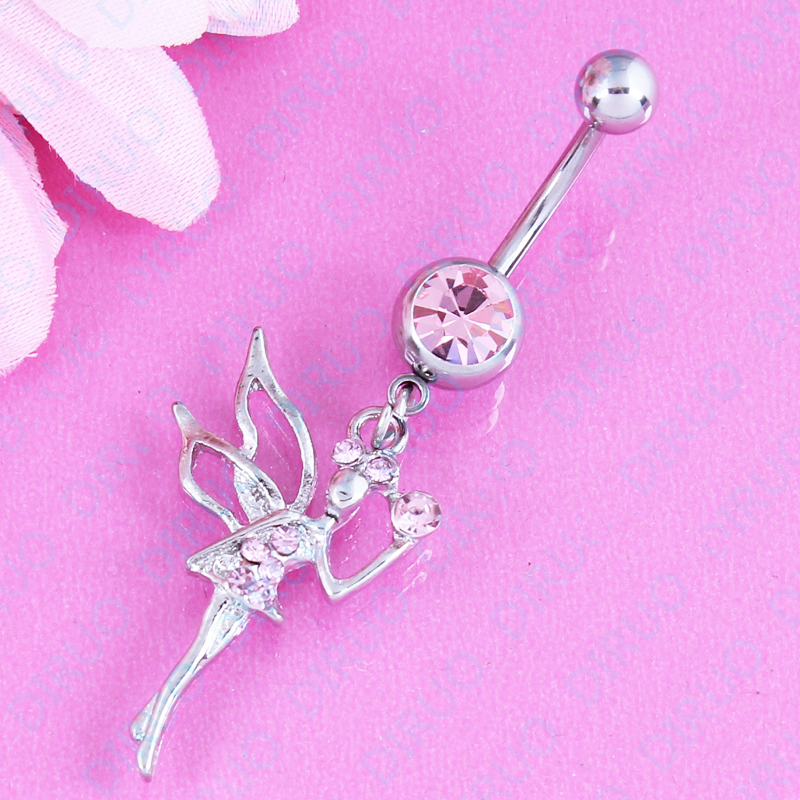 Free shipping Dangle Belly bar Angel Pendant fashion body piercing navel bar jewellry belly button ring 14G Surgical Steel