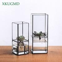Nordic Transparent Glas Doppel Schicht Hydrokultur Sukkulente Vase Geometrie Pflanze Blume Inserter Hause Dekoration Blumentopf-in Blumentöpfe & Pflanzkübel aus Heim und Garten bei