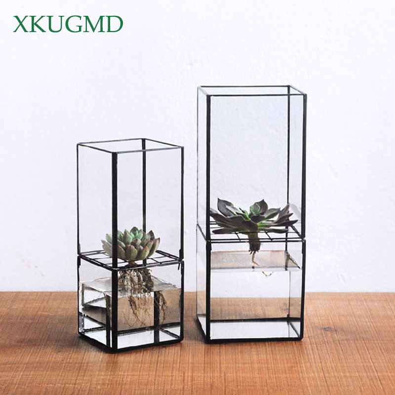 Nordic Transparent Glass Double Layer Hydroponic Succulent Plant Vase Geometry Plant Flower Inserter Home Decoration Flower Pot