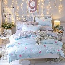Home Textiles, Romantic Sweet Heart 4pcs bedding set, Candy Color AB Side bed linen, dot set sheet/duvet cover/Pillowcase