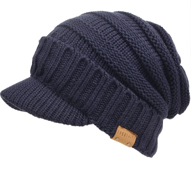 c8dfd4f9c42f Mens Visor Beanie Knitted Newsboy Cap Fleece Lined Cadet Hats Cabbie Winter  Hat FORBUSITE