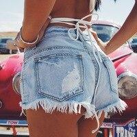 Летние винтажные джинсовые шорты с высокой талией пикантная бахрома, рваные джинсовые шорты, пляжные шорты для девочек, популярные обтягив...