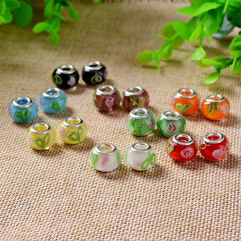Free shipping 50pcs mix color & style rhinestone big hole charms & crystal glass fit European Pandor bracelet DIY perlas H55