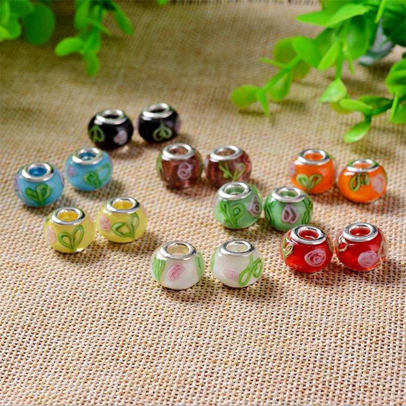 Free shipping 50pcs mix color & style rhinestone big hole charms & crystal glass fit European Pandor bracelet DIY perlas H55