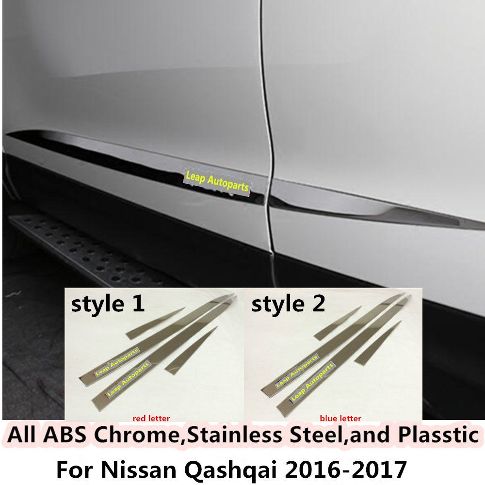 Hot sale Car Stainless steel Side Door Body trim stick Strip Molding Stream lamp panel bumper 4pcs for Nissan Qashqai 2016 2017