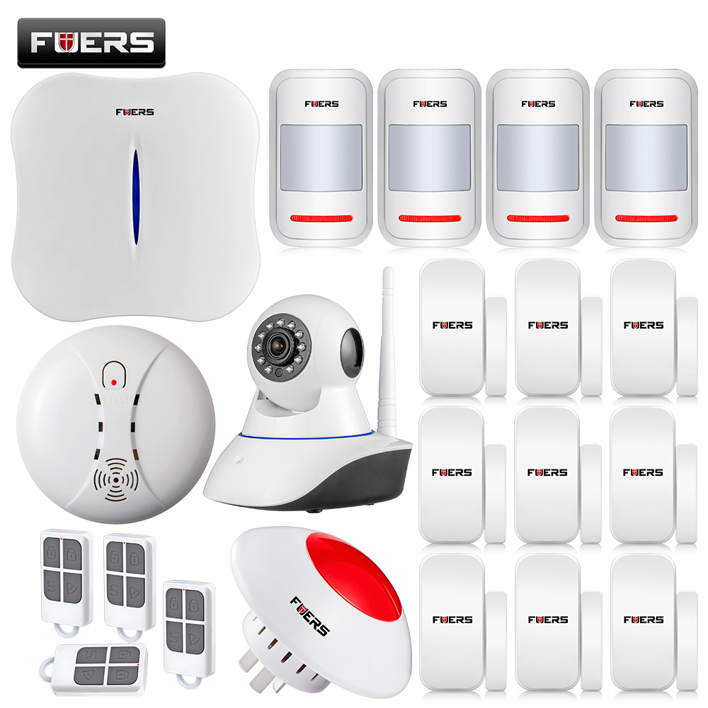 WIFI/PSTN Alarm System IOS/APP Control Wireless Alarm Systems Security Home with Flashing Siren/Touch Keypad/IP Camera comfast ac200 orange os system full gigabit wifi control ac gateway routing wireless roaming wifi coverage project manager route