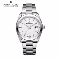 Reef Tiger Mens Dress Watches Stainless Steel Sapphire Crystal Perpetual Calendar Watch Automatic Waterproof Watches RGA835