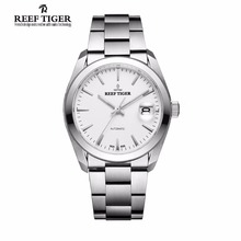 Reef Tiger Mens Dress Watches Stainless Steel Sapphire Crystal Perpetual Calenda