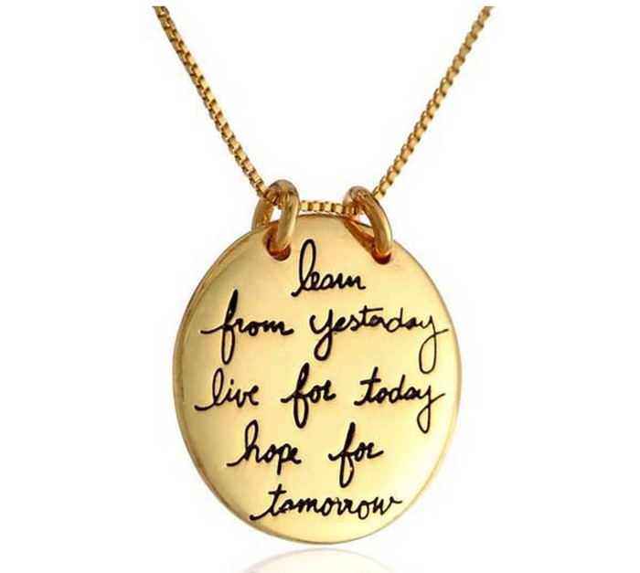 Vintage Engraved Pendant Silver Chain Stamped Live the Life You Love Box Chain Charm Pendant Necklace