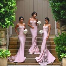 2016 Sexy Lace Appliques Cheap Bridesmaid Dresses Mermaid Floor-Length De Casamento Robe Demoiselle D'honneur Bridesmaid Dress