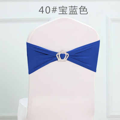 Royal blue colour Crown buckles lycra sash for wedding chairs decoration spandex band stretch bow tie lycra ribbon belt on sale