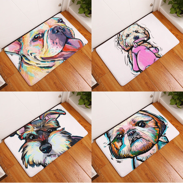 Modern Colorful Lovely Painting Dog Print Carpets Anti Slip PVC Floor Mat  Outdoor Living Room