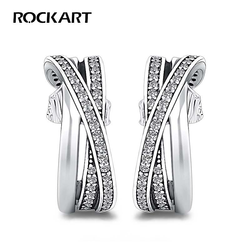 ROCKART Entwined Half Hoop Earrings 925 Sterling Silver&Clear CZ Fine Jewellery For Women High Quality Hyperbole Earring Cool bcosh a hyperbole and a half