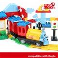 Tren bloques de batería automático operado vagón de tren pista niños juguetes de ferrocarril montaje de piezas, compatible con lego duplo