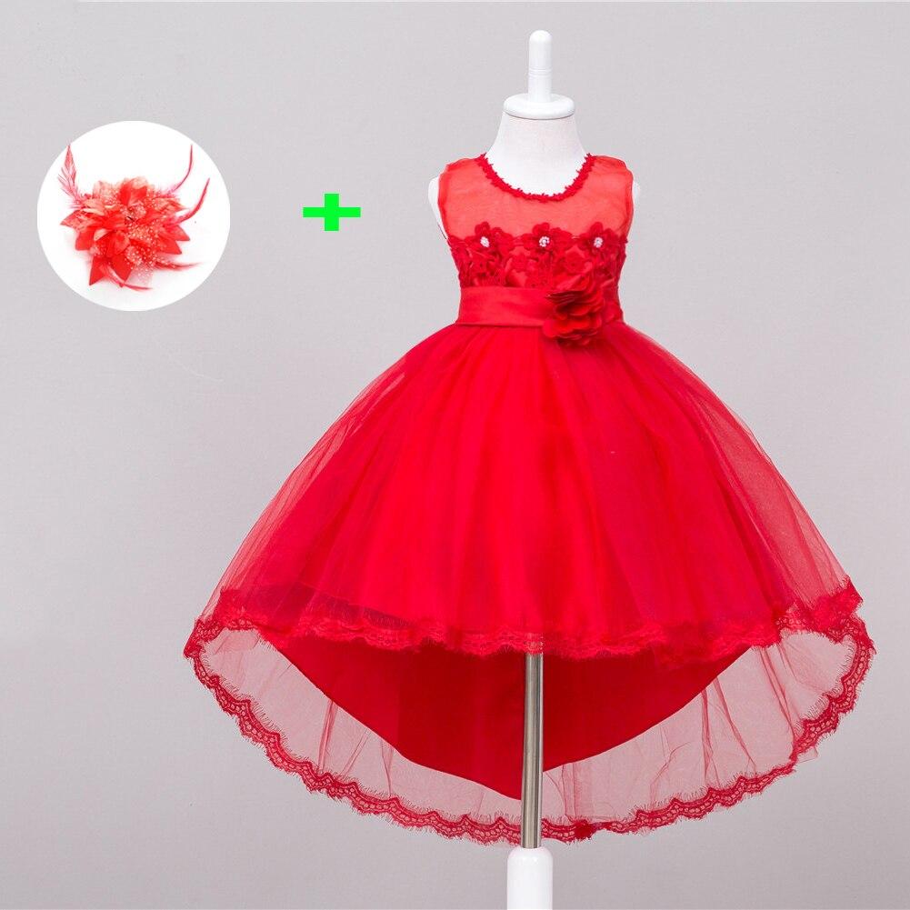 Модные сетчатые кружева шеи платья вечерние длинные совок обратно детская праздничное платья для девочек красного цвета для свадьбы