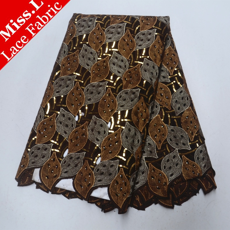 Miss L Hot sales Sandy Brown Sequined Swiss Cotton Voile Laces In Switzerland African Embroidery Lace