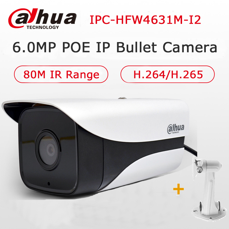 Dahua Starlight 6MP POE IP Camera Outdoor CCTV H.265 IPC-HFW4631M-I2 Network IP Bullet Camera IR80M IP67 Waterproof with Bracket wistino cctv camera metal housing outdoor use waterproof bullet casing for ip camera hot sale white color cover case