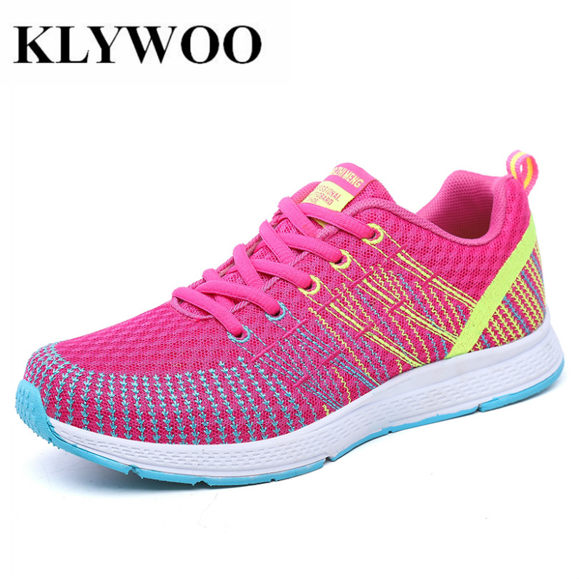 KLYWOO Women Casual Shoes New Fashion Sneakers for Women Shoes Breathable Mesh Lace-Up Sneakers Female Feminino Vulcanize Shoes
