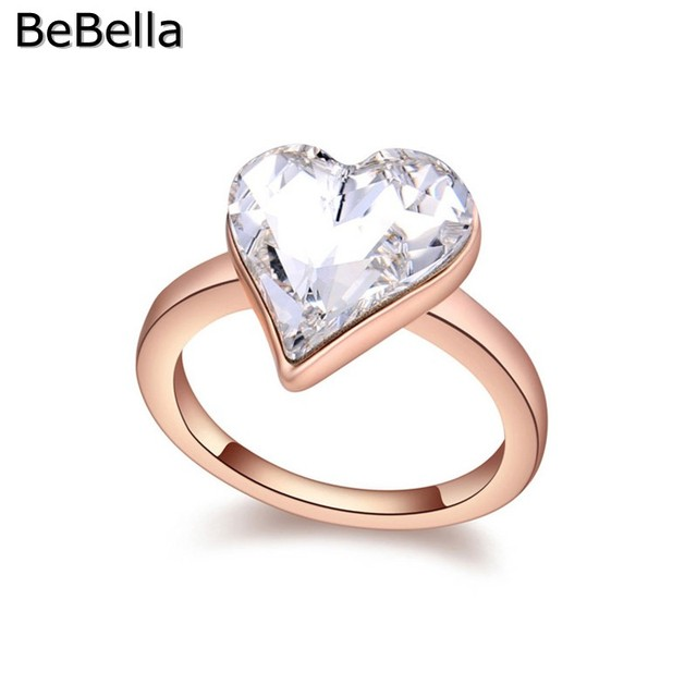 87132c17dce31 US $7.55 |BeBella romantic heart crystal finger ring for engagement made  with Swarovski Elements 3 colors available for wedding jewelry-in  Engagement ...