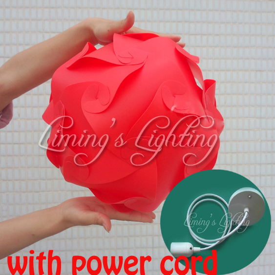 Red with power cord 25cm30cm40cm Modern DIY Elements IQ Jigsaw Puzzle ZE Lamp Ceiling Chandelier Pendant Lamp Light Lighting