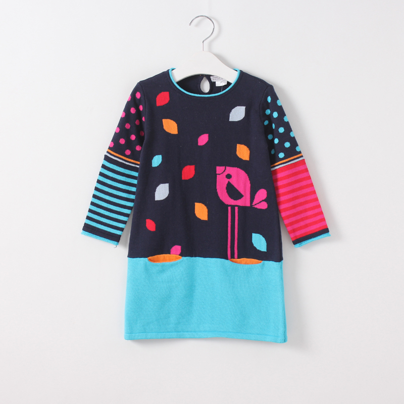 Baby Girls Knited Dress Character Bird Spring Autumn O-Neck Collar Clothes Kids Casual Dot Striped Children Clothing 5pcs/lot summer girls dresses casual children clothing sleeveless striped baby clothes for girls o neck striped brilliant color