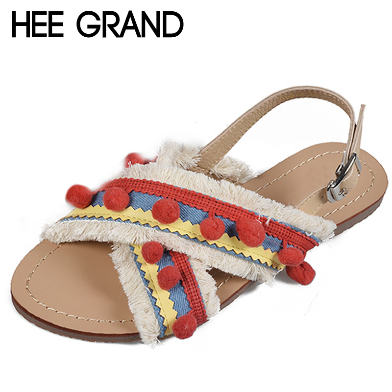 HEE GRAND Summer Women Sandals 2018 Poms Bohemia Sweet Style Buckle Strap Gladiator Casual Flats Shoes Woman Size 35-40 XWZ5008HEE GRAND Summer Women Sandals 2018 Poms Bohemia Sweet Style Buckle Strap Gladiator Casual Flats Shoes Woman Size 35-40 XWZ5008