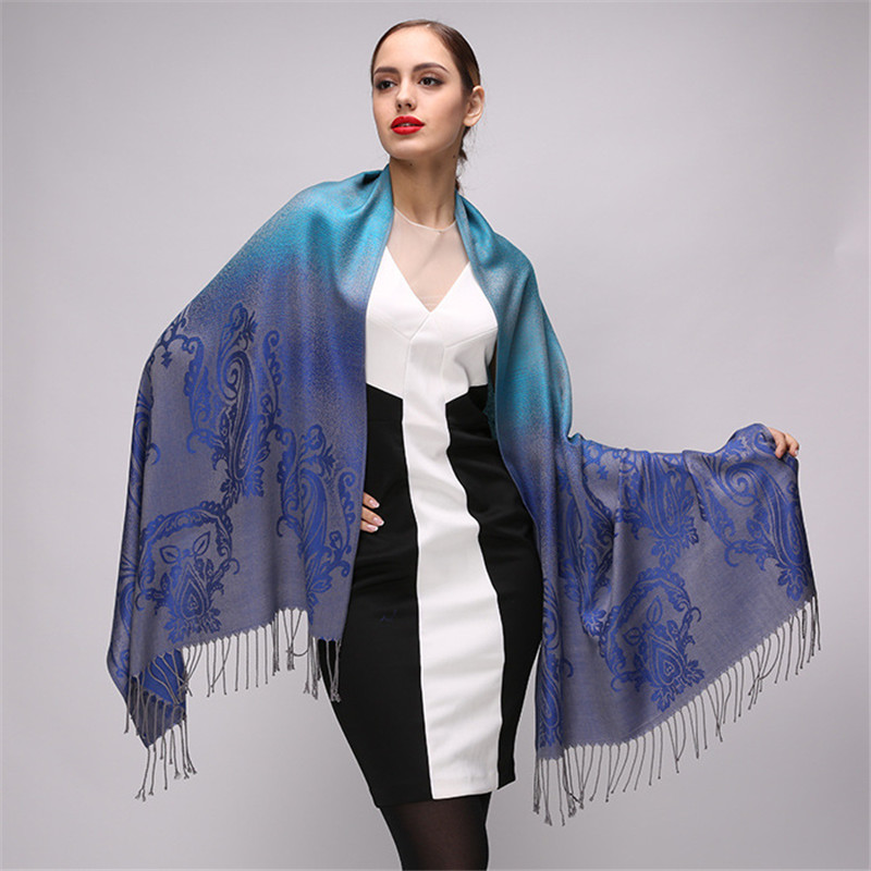 Winter   Scarf   2018 Luxury   Scarf   Women Shawl Fashion Gradient Color Cotton   Scarf   High Quality Pashmina Bandana Foulard Femme   Wraps