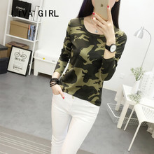 Army green camouflage long sleeve shirt 2017 female loose T-shirt