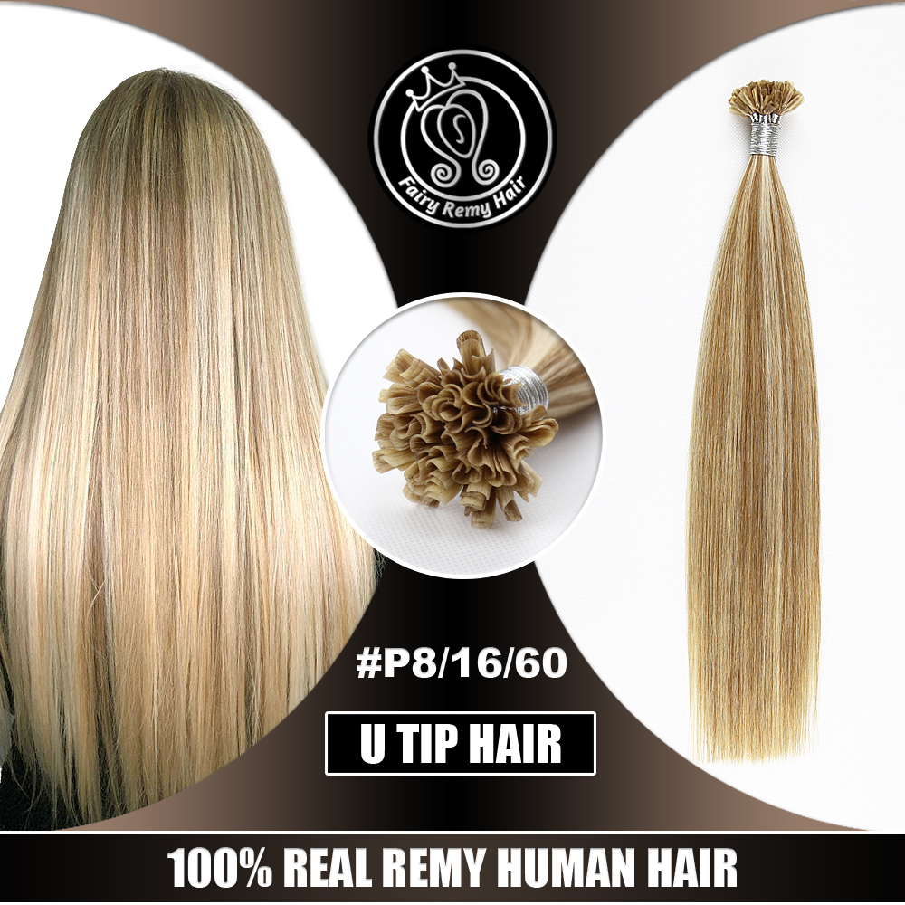 Fairy Remy Hair 0.8g/s 100% Remy Human Fusion Hair Extensions Piano Color Nail/U Tip Keratin Pre-Bonded Human Hair On Capsule