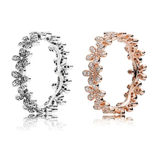 Ruifan Rose Gold/Thai Silver Daisy Flower 925 Sterling Ring Cubic Zirconia Rings for Women Trendy Wedding Jewelry YRI127