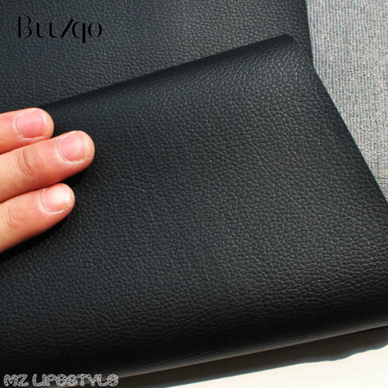 Buulqo 50x68cm Black PVC leather  Faux Leather Fabric for Sewing, artificial leather for DIY bag material 0.6mm