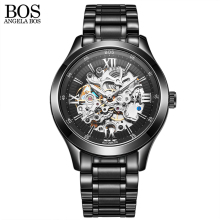 ANGELA BOS Skeleton Automatic Watch Mens Mechanical Black Stainless Steel Waterproof Luxury Watch Men Famous Brand