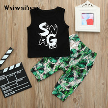 New Summer Baby Suits  Sleeveless Tops +Long Pants 2PCS Fashion Clothes Toddlers Outfits For Boys