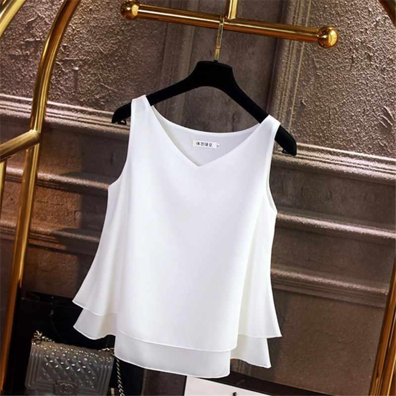 Женская блузка Летний шифон без рукавов рубашка сплошной v-образный вырез Повседневная блузка плюс размер 4XL свободный женский топ