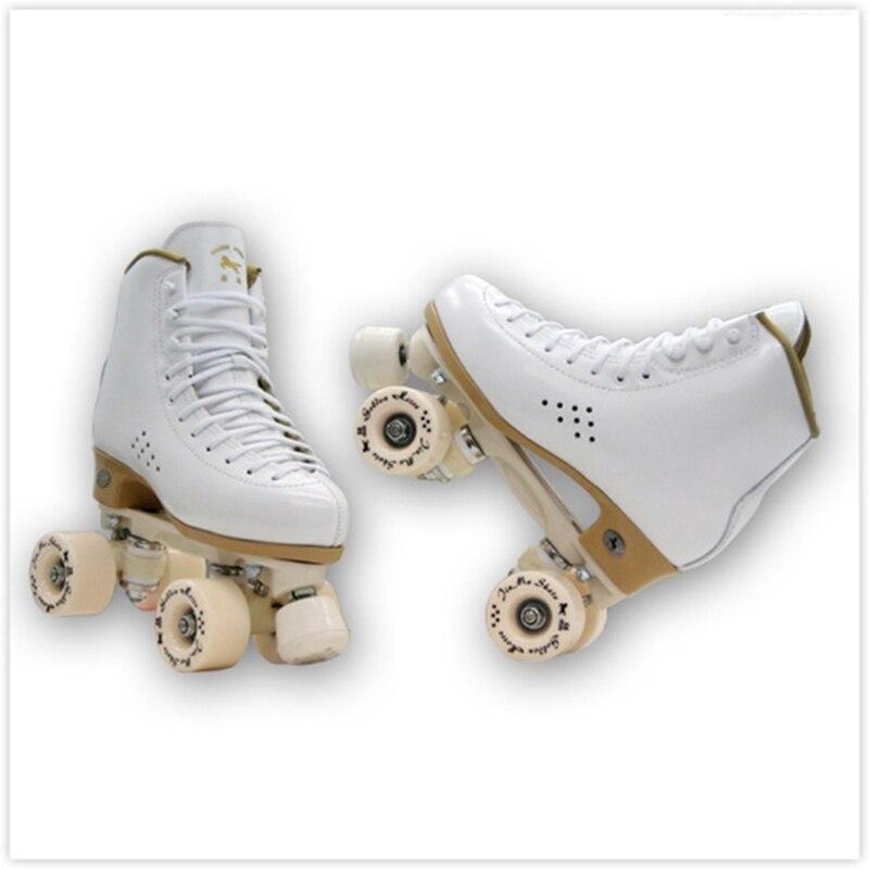 Nouveau Adulte Professionnel Deux Ligne Patins à roulettes Chaussures Double Rangée Patins Parentales Rouleau Sneakers 4 PU Roues En Cuir de Vachette IB51