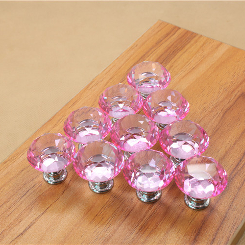 Superb 10Pcs 30mm Diamond Shape Crystal Glass Knob Cupboard Drawer Pull Handle Pink  Color Kids Dresser Knobs