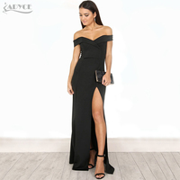 Adyce 2017 HOT SALE Sexy Red Black Long Dress Vestidos Clubwear Chic Off The Shoulder Celebrity