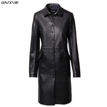2018 New Women Genuine Leather Jacket Autumn Long Sheepskin Turn-down Collar Coat Elegant Vintage Slim Outwear Cacaso AC271