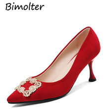 Bimolter New Women Fashion Thin High Heels Crystal Pumps Red Black Heels Court Shoes Pumps for Ladies Girl Party Plus Size FB015 недорого