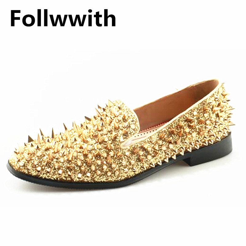 Irregular Gold Rivets Cover Gold Shiny Leather Cool Fashion Men Loafers Men Shoes Slip On Flats Casual Shoes Plus Size 37-46