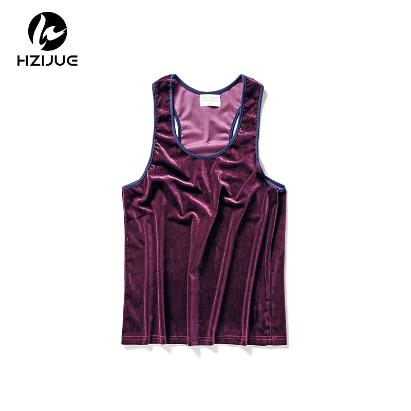HZIJUE 2018 Europe America Street Mens hip hop Clothing Men's Velvet Vest Spring Summer 5 Colors Casual Velour   Tank     Top   Men XXL
