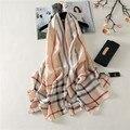 2017 luxuy marca mulheres lenço de seda moda longo xales e wraps impressão rayon lenço listrado Praia Grandes lenços echarpes foulard