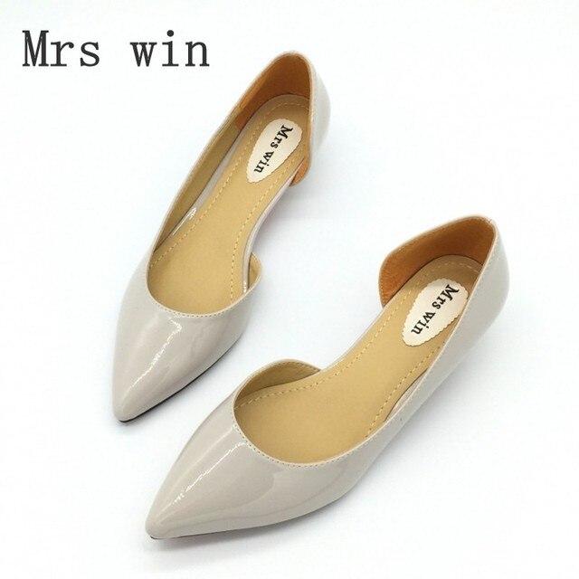 0aded7d51 A senhora deputada Vitória Primavera Outono Sexy Sapatos de Salto Baixo Do  Dedo Do Pé Apontado