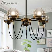 Simple American Cafe Retro chandelier lights restaurant molecular chandelier lamp glass ball bronze ring hanging light fixtures