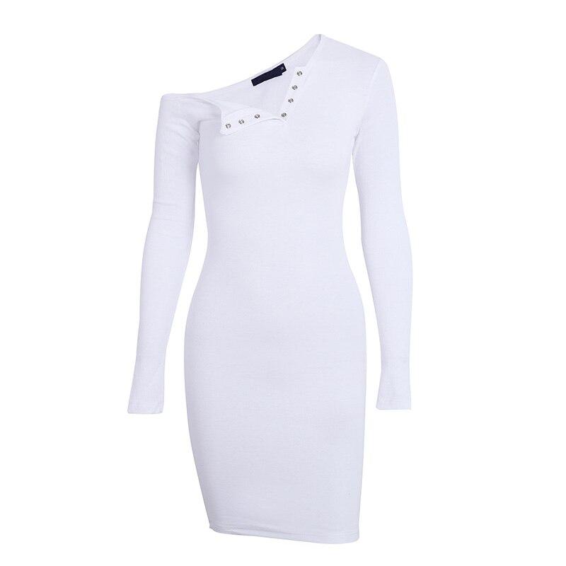 BerryGo Elegant off shoulder bodycon dress Long sleeve short evening party club white dress Women autumn winter black sexy dress 17