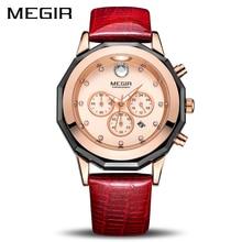 цена Megir Chronograph Women's 24-hour  Quartz Watches with Luminous Hands Waterproof Wristwatch Red Leather Strap онлайн в 2017 году