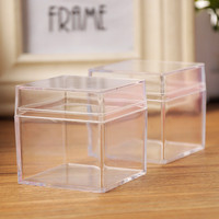 5cm Clear Square Plastic Box Wedding Baby Shower Christmas Chocolate Candy Box Jewelry Display Gift Packaging