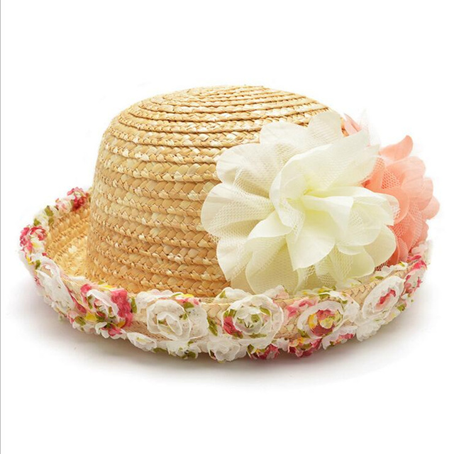11bc9bb8b77 Parent-child Lace Mesh Dots Bow Flowers Straw hats 2018 New Spring Women s  Organdy sun hat Solid Sunmmer Beach female Sun hat